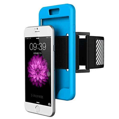 Phone case & Hülle Für IPhone 6 Plus / 6s Plus, Dual Control Sport Armband mit abnehmbarem Premium Silikon Tasche ( Color : Pink ) Blue