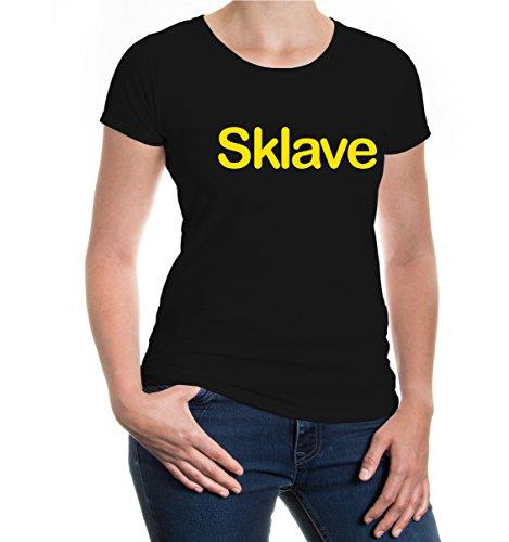 buXsbaum® Girlie T-Shirt Sklave Black-Sunflower