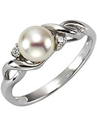 ZEEme Pearls Damen-Ring 925 Silber rhodiniert Perle Zirkonia Süßwasser-Zuchtperle Weiß  379270402