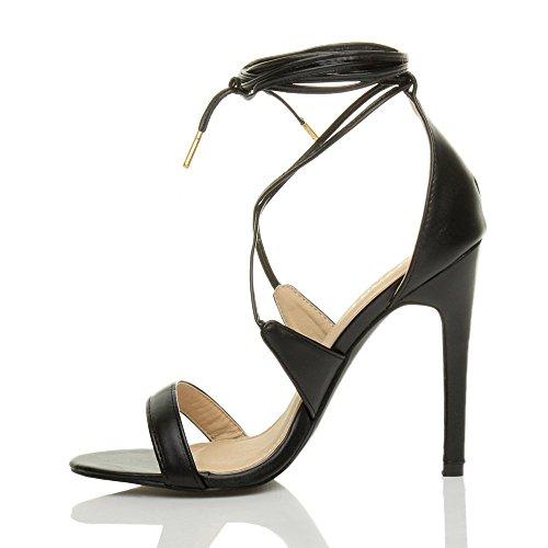 Femmes talon haut à peine là à lanières lacets fête sandales chaussures pointure Noir mat