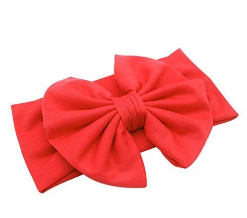 CAOLATOR Mädchen Babyhaarband Kinderhaarschmuck Kinder großen Bogen Band Stirnband Zierde (Rot) (Bogen Rot Band)