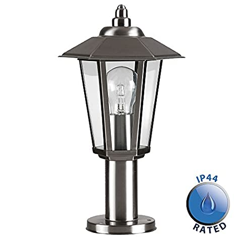 Contemporary Victorian Style Silver Stainless Steel Outdoor Garden Lamp Post Top Lantern Light - IP44 Rated - Complete With 1 x 6w LED ES E27 Bulb