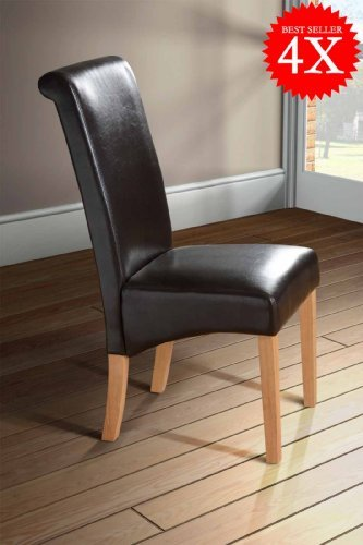 Milano Scroll Back Faux Leather Dining Room Chair BROWN  : 41CsXjJnwtLSL500 from smartshopity.co.uk size 333 x 500 jpeg 29kB