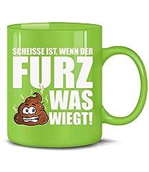 Golebros Fun Tasse Scheisse ist wenn der Furz was wiegt 6134 Handwerker Kollege Arbeit Becher Kaffeetasse Arbeitskollege Pupsen Kacken Liebe Love Shit Grün