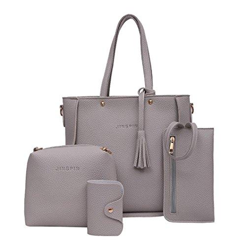 Manadlian Handtasche Damen, 4 STÜCK Crossbody Handtasche Schultertaschen Umhängetasche Geldbörsen Messenger Bag Damen 4 Sets Handtasche (Grau) - E/w-cross-body-organizer