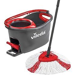 1 de Vileda Easy Wring & Clean Turbo Set de limpieza para el hogar, cubo con pedal y fregona de microfibra, fácil de escurrir y limpiar, palo telescópico, ...