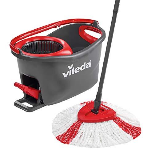 Vileda Easy Wring & Clean Turbo Set de limpieza para el hogar, cubo con pedal y fregona de microfibra, fácil de escurrir y limpiar, palo telescópico, color negro y rojo