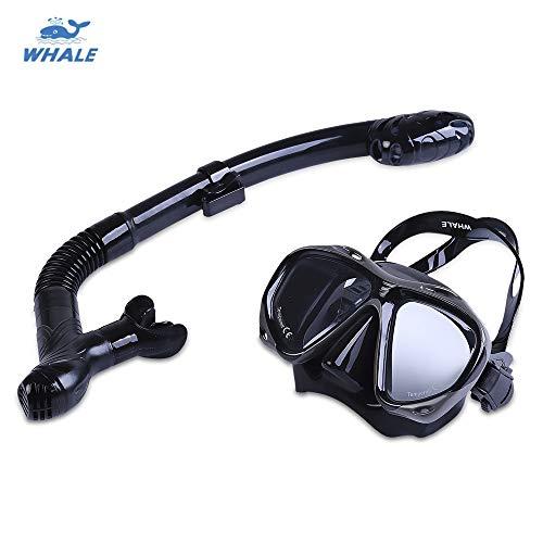 Les accessoires d'eau Masque de plongée avec masque facial de plongée Equipement de masque de natation à 180 ° panoramique de sécurité anti-buée étanche pour la plongée sous-marine adulte avec tuba dé