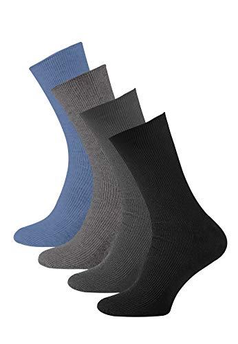 VCA Lot de 8 paires de chaussettes sans élastique - coton - pointe remaillée main - diabétique (43/46, noir, anthracite, gris, gris clair)