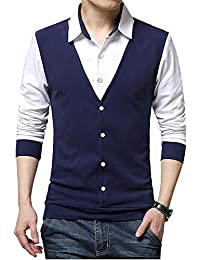 EMERA Men's Cotton Waistcoat Style Full Sleeve T-Shirt/Tshirts (Navy, Black)