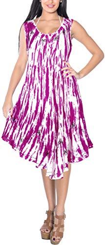 LA LEELA bestickte tie dye kurzes Strandkleid der Blume Frauen für Frauen-Bikini-beiläufige Miniumstandsmode ärmel Partei Sundress Plus Größe große hawaiische dr Rosa_Y871 DE Größe: 42-50 - Größe Plus Rosa Kleid Mutterschaft