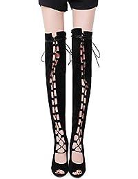 Zapatos de mujer, elegantes y atractivos zapatos de tacón de aguja de tacón alto, botas de boca de pescado, zapatos de mujer, correas cruzadas, botas de primavera otoño ( Color : Negro , tamaño : 35 )