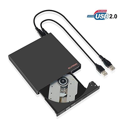 Eluteng lettore cd esterno usb 2.0 dvd-rw / cd-rw drive esterno compatta sottile usb cd dvd reader external masterizzatore rewriter unità ottica plug e play per pc notebook windows 10 / 8 / 7 / xp