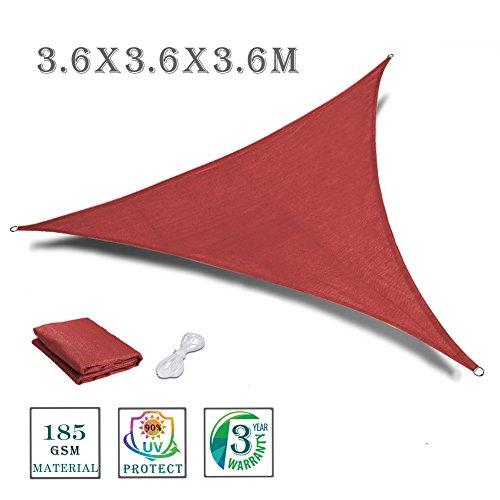 Love Story Vela de sombra triángulo 3.6 x 3.6 x 3.6 m, toldo para exteriores, patio, jardín, Color tierra