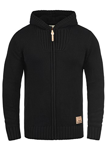 SOLID Penda Herren Strickjacke Cardigan Zip-Hoodie Grobstrick mit Kapuze aus hochwertiger Baumwollmischung Meliert, Größe:L, Farbe:Black (9000)