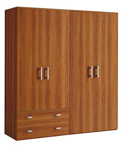 Inhouse srls armadio moderno in legno, 4 ante + 2 cassetti, noce, 161x52 207h.