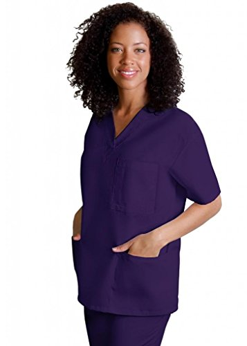Adar Medical Uniforms Unisex V-Neck Tunic 3 Pocket Hospital Nurse Scrub Top - 601 - Purple - M