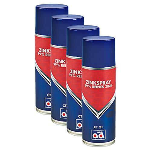 AD Chemie 4X Zink-Spray Ct 21 400ml Aerosoldose Spraydose Spray Auto Zink Lackspray Rostschutz Rost Zinkspray Karosserie Grundierung Hitzebeständig Bremsen Rostumwandler 41619057