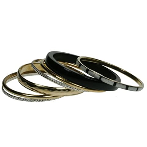 Set of 7 mixed bangles made from brass and wood 560 (BRASS WOOD)