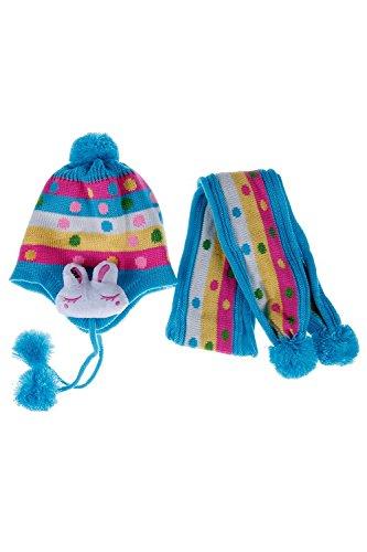 TOOGOO(R) Hiver Chaud Bebe Enfant Point Lapin Chapeau Garcon Fille Tricot Bonnet Chapeau Oreille Flap Echarpe Suit(Bleu)