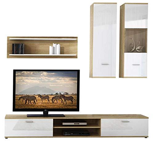 Avanti trendstore - vani - parete da soggiorno in legno laminato di colore quercia sonoma/bianco lucido. dimensioni: lap 188x190x37 cm