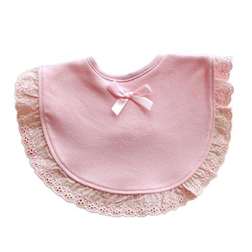 LuckyGirls Lätzchen Neugeborenen Kleinkind Baby Kinder Mädchen Bowknot Spitze Speichel Cartoon Handtuch (Pink)