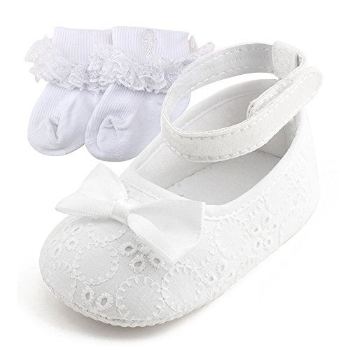 39aaab0a38587 DELEBAO Scarpe Primi Passi Bambini Scarpe Battesimo del Bambino Bianco  Scarpe morbide Sole Bambino Scarpe (