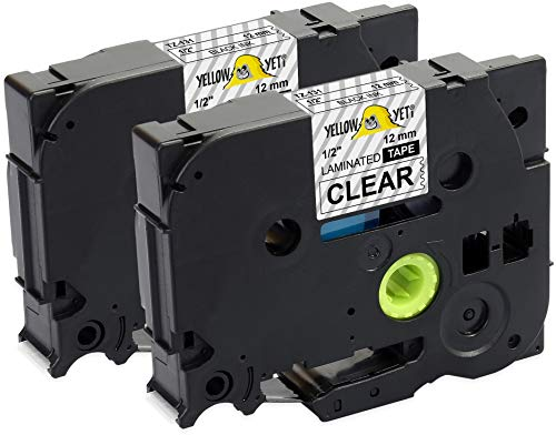 Yellow Yeti 2 Cassette Nastri Laminati TZe-131 TZ-131 nero su trasparente 12mm x 8m Etichette compatibili per Etichettatrici Brother P-Touch PT-1000 PT-H100R H100LB PT-H107B PT-H110 PT-D400 PT-D600VP