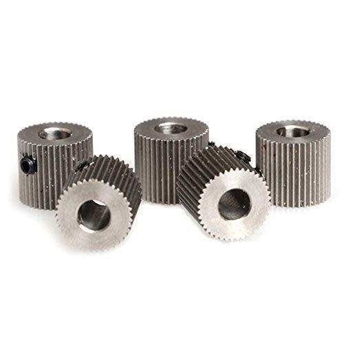 ARCELI 40 Dientes de 5 mm de diámetro Mk7 MK8 Engranaje de accionamiento del extrusor Acero Inoxidable para CTC Makerbot Pieza de Impresora 3D (Paquete de 5 Piezas)