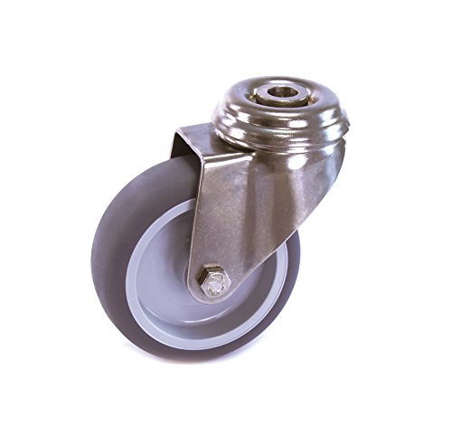 Edelstahlrolle 50 mm Gummi grau spurlos Rückenloch ohne Bremse V2A INOX Transportrolle Apparaterolle aus Edelstahl