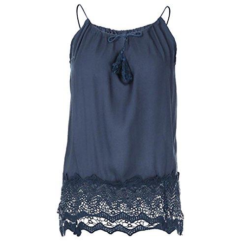 OSYARD Damen Spitze Patchwork Sleeveless Weste Tank Cami Bluse Pullover Tops Shirt(EU 48/M, Marine)