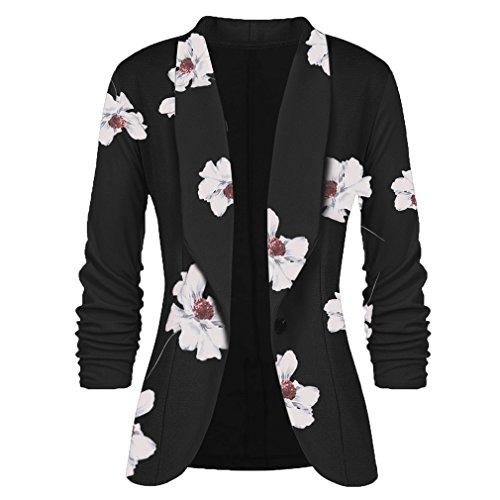 Mxssi Frauen Blazer und Jacken Arbeit Büro Dame Anzug Schlank Button Business Lady Blazer Mantel Schwarz Blume 2XL