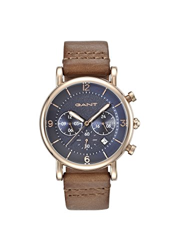Gant Springfield Men's Quartz Watch with Blue Dial Analogue Display and Brown Leather Strap Gt007003