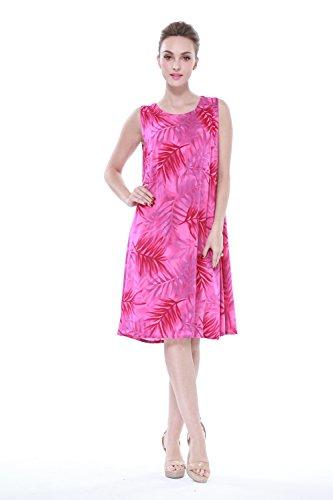 Mujer-hawaiano-Arruga-Una-lnea-Flowy-Luau-Vestido-en-Rosa-de-la-impresin-de-la-hoja