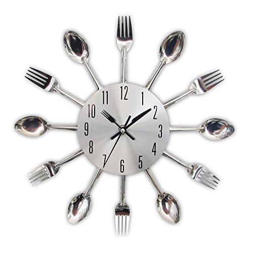 Timelike Horloge de cuisine effet miroir en forme de cuillère, fourchette, couverts, adhésif amovible en 3d pour décoration de la maison 32*32*4CM argent métallique