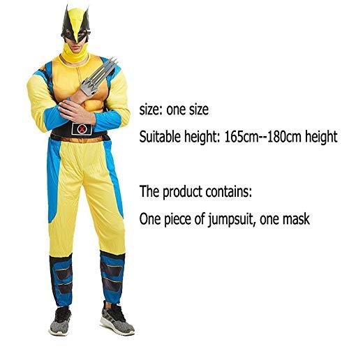 WLDSH COSPALY Superheld Wolverine Cosplay Muscle Styling Film Charakter Druck Strumpfhosen Party Kleidung Geschenke (Wolverine Marvel Helden Kostüm)