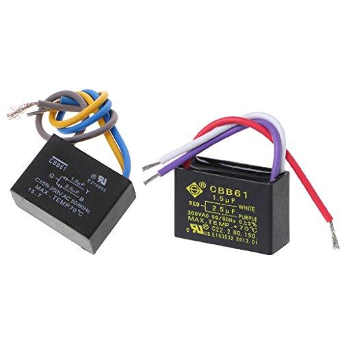 Jenor nero CBB611.5uf + 2.5uf 3fili AC 250V 50/Hz condensatore per ventilatore da soffitto