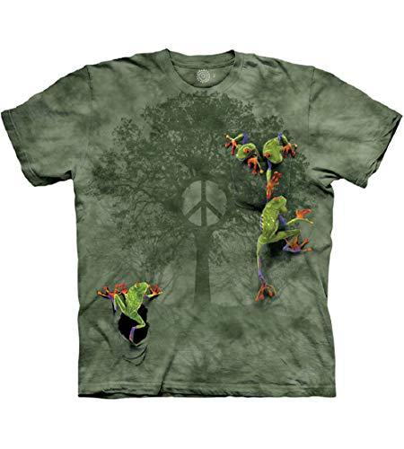The Mountain Herren T-Shirt Peace Tree Frog - Grün - X-Groß (Siebdruck Über)