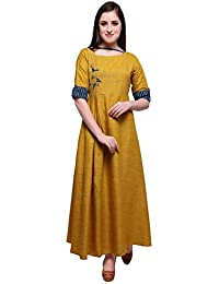Naisargee Girl's And Women's Musturd Heavy Reyon Cotton Full Stitched Fancy Designer Straight Kurti
