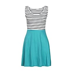 Womens Striped Boho Maxi Dress Kanpola Clearance Ladies Sleeveless Splice Casual Beach Knee Length Vest Sundress by Kanpola