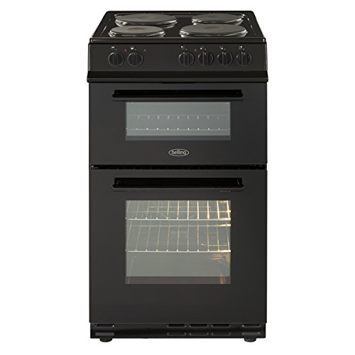 41Csh2dvJOL. SS500  - Belling FS50ET BLACK 500mm Twin Cavity Electric Cooker Solid Plate Hob Black