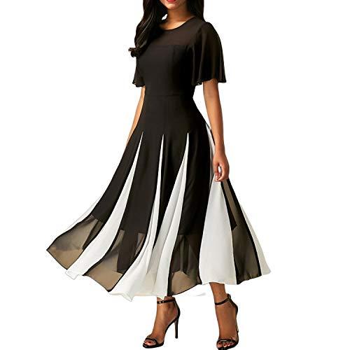 YuJian12 Robe mi-Longue Sexy en Mousseline de Soie pour Femmes Robe Sexy Noire à Manches Courtes Robe Femme Noire Robe de Femme
