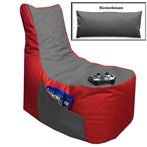 Sitzsack 3er Set Big Gamer Sessel mit EPS Sytropor Füllung - Rückenkissen - Hocker - In & Outdoor...