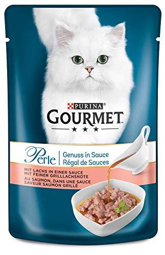 Purina GOURMET Perle Genuss in Sauce, Katzenfutter mit einer großzügigen Portion Sauce, Nassfutter für ausgewachsene Katzen, 24er Pack (24 x 85 g)