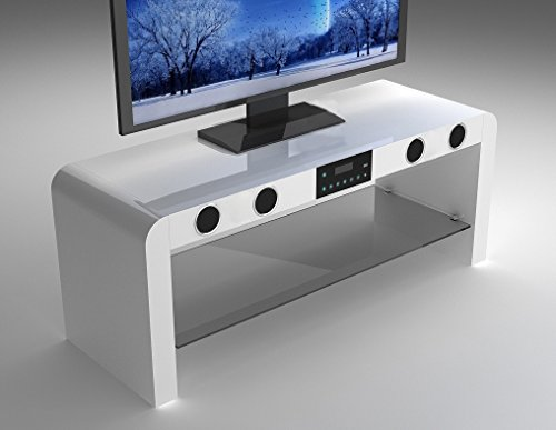 White Gloss Tv Stand With Built In Bluetooth Speakers Usb Music Play