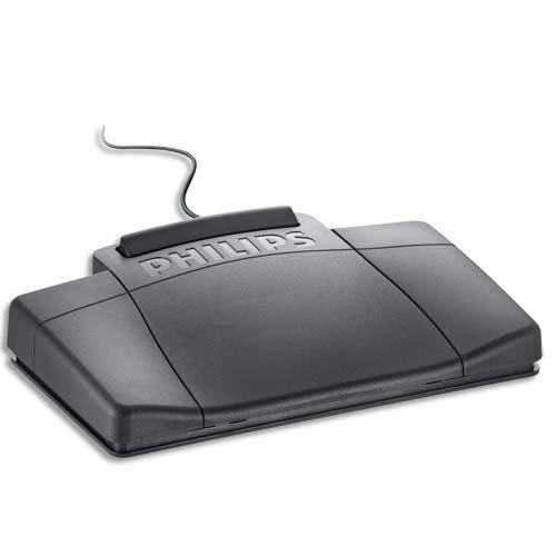 Philips LFH2210 Fußschalter für analoge Diktiersysteme LFH0720, 0725, 0730, 0735, 3 Pedal-Design (Schnellrücklauf, Schnellvorlauf, Wiedergabe), schwarz