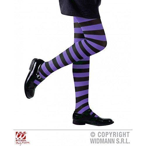 Lively Moments Strumpfhose in lila schwarz gestreift für Kinder von 4-6 Jahren für Fasching / Halloween / Hexenkostüm / Kinderkostüm / Halloweenkostüm (Gestreiften Und Strumpfhosen Schwarz Lila)