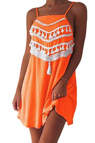 Senza maniche sciolto nappa gilet spiaggia sottoveste donne Orange