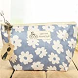 Travel Floral Makeup Bag Flower Cosmetic Holder Organizer Pouch (BLUE)