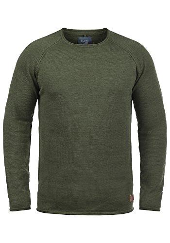 Blend John Herren Strickpullover Feinstrick Pullover Mit Rundhals Und Melierung Aus 100% Baumwolle, Größe:L, Farbe:Burnt Olive (77011)